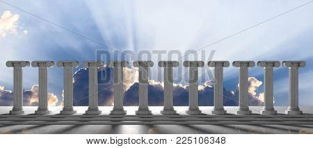 Marble pillars row on blue cloudy sky background, details, front view. 3d illustration