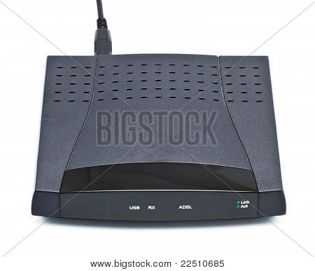 adsl modem router isolated on white background poster