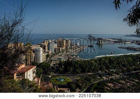 Aerial View Of Malagueta District And La Malagueta Harbour In Malaga, Spain, Europe On A Bright Summ