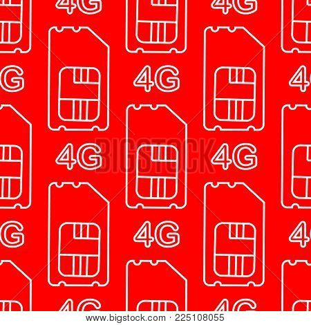 4g sim card. Vector 4g SIM Cards Seamless Pattern on red Background.