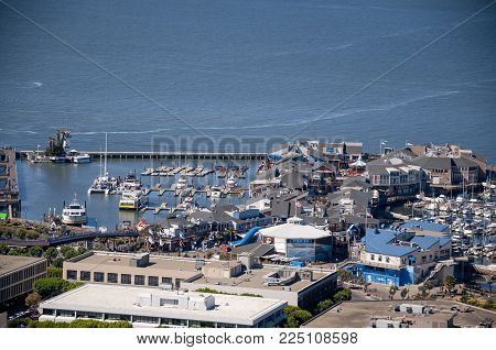 SAN FRANCISCO, CALIFORNIA - SEPTEMBER 9, 2015 - View of Pier 39 from Coit Tower