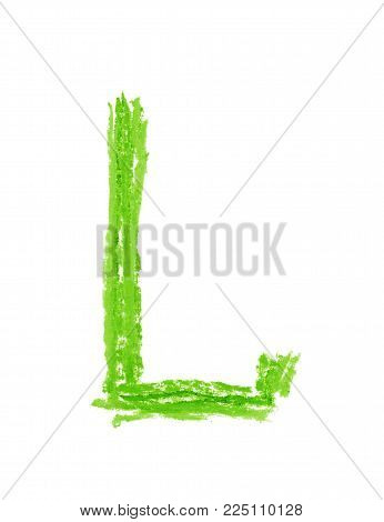 Single hand drawn with the colorful chalk L letter isolated over the white background