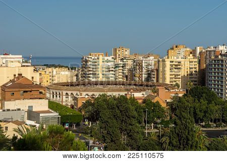 Aerial View Of Malagueta District And La Malagueta Bullring In Malaga, Spain,