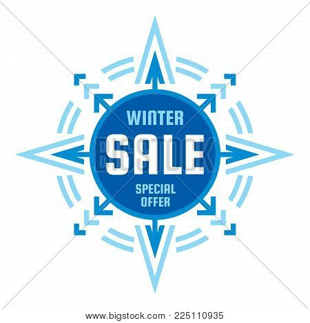 Winter final sale - vector concept banner. Special offer badge illustration. Discount promotion abstract geometric banner. Snowflake creative sign. Star with arrows icon. Graphic design element.