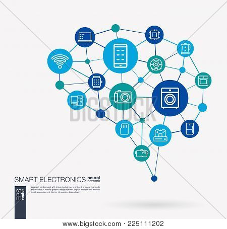 AI creative think system concept. Digital mesh smart brain idea. Futuristic interact neural network grid connect. Electronics technology, household gadgets, IOS integrated business vector icons.
