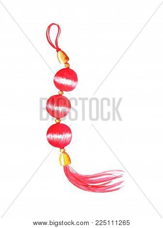Red Lucky Knot Watercolor Illustration On White Background. Traditional Chinese Decor For Lunar New