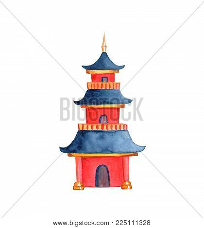 Chinese Pagoda On White Background. Taoist Or Buddhist Temple Watercolor Illustration. Cartoon Pagod