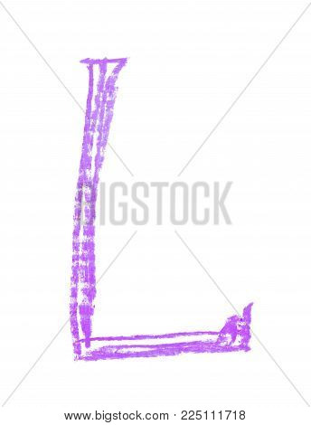 Single hand drawn with the chalk L letter isolated over the white background