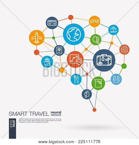 AI creative think system concept. Digital mesh smart brain idea. Futuristic interact neural network grid connect. Travel plane, tour map, hotel booking, flight ticket integrated business vector icons.