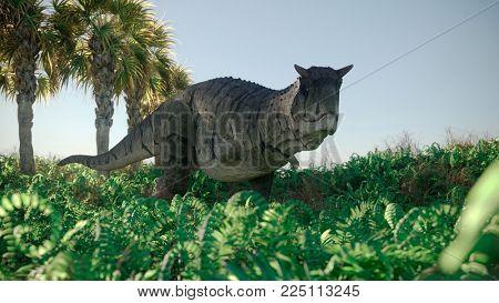 3d rendering of the walking carnotaurus dinosaur