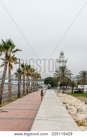 Tall Palm Trees Along The Malaguera Beach With Lighthouse In The Background In Malaga, Spain, Europe