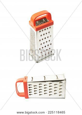 Metal food grater utensil isolated over the white background , set of several different foreshortenings