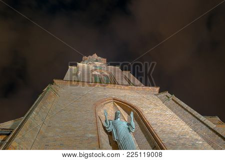 Mystic looking Holy Virgin Mary Church at night in Druskininkai, Lithuania