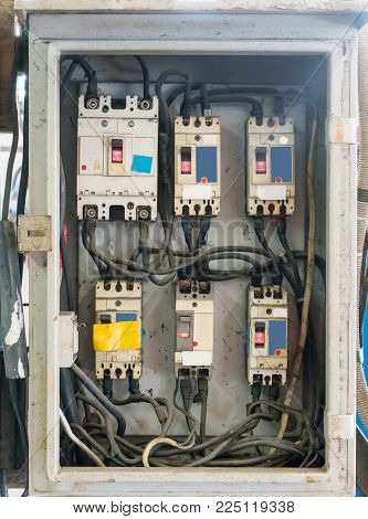 electrical panels, controls and switches in the metal box