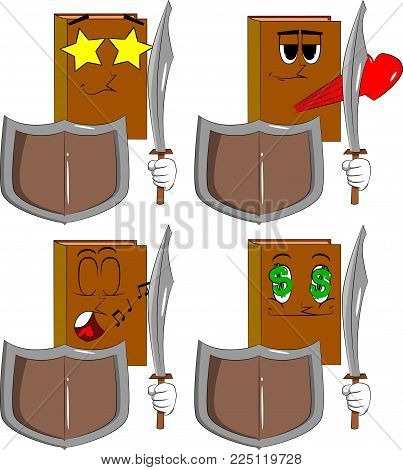 Books holding a sword and shield. Cartoon book collection with various faces. Expressions vector set.