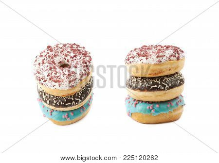 Stack of glazed donuts isolated over the white background, set of several different foreshortenings , set of several different images