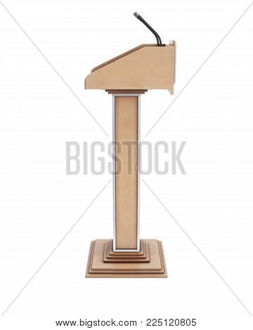 Wooden tribune isolated on white background. Side view. 3d rendering.