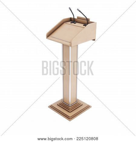 Wooden tribune isolated on white background. 3d rendering