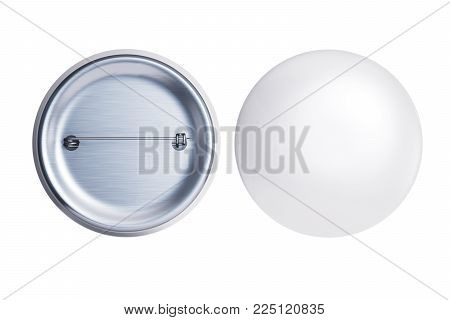 White badge pin brooch front and back side isolated on white mock-up. Empty clear pin emblem mock up. Template button badge for your design. 3d rendering