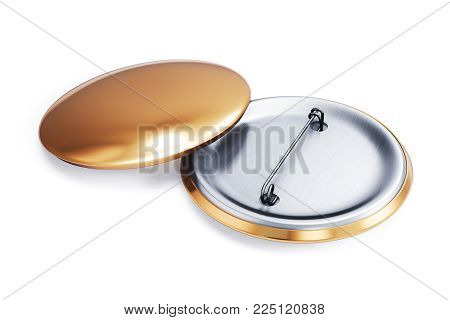 Gold badge pin brooch front and back side isolated on white background. Empty clear pin emblem mock up. Template button badge  mock-up for your design. 3d rendering