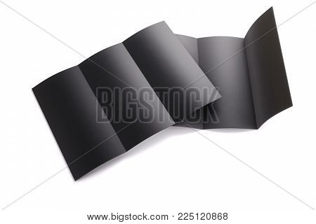 Blank black tri folded booklet mockup isolated on white background. Empty template booklet for your design. 3d rendering