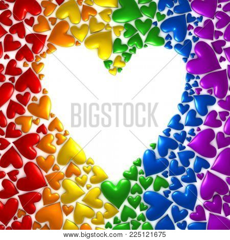 Background of hearts in a rainbow of colors - 3d render