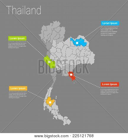 Map Thailand i concept. Political Thailand Map infographic. EPS Thailand map infographics design template