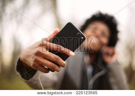 Selfie using a smartphone