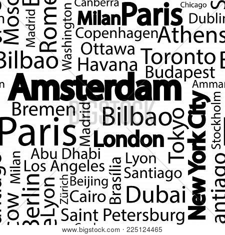 Cities of the world seamless pattern. The names of the cities of the world. Art seamless vector pattern background with names of cities. Seamless pattern with names of cities.