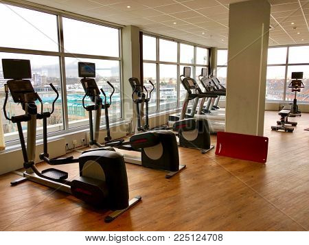 DUSSELDORF - FEBRUARY 2, 2018: Exercise equipment in a hotel gym in Düsseldorf, Germany.