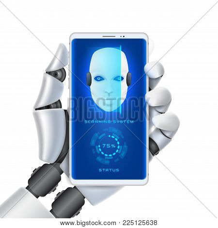 Robot Cybernetic Organism Isolated On White Background