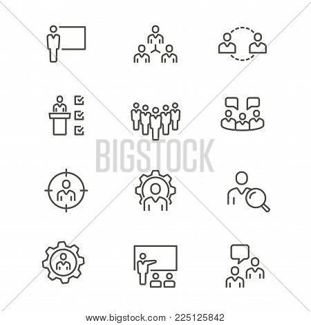 Management consulting - line vector icon set. Editable stroke. Network, administration, communication, population, ets.