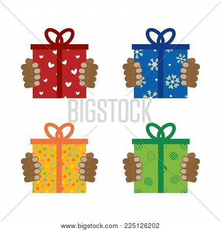 Set, collection of gifts in people's hands. Concept of giving presents, gifts for different occasions.