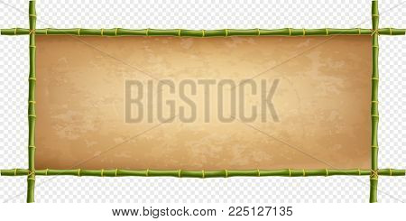Wooden Frame Of Green Bamboo Sticks With Higly Detailed Vintage Paper Blank. Worn Papyrus Template,