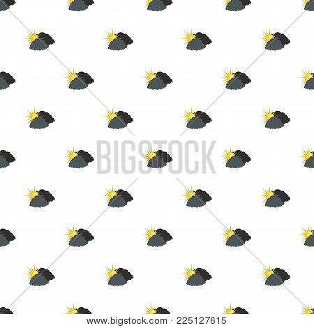 Dark cloudy sun pattern seamless in flat style for any design