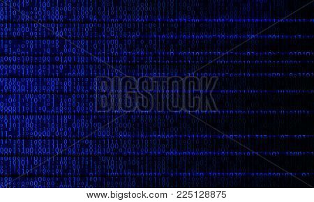 Blue digital binary lines. Virtual reality code background