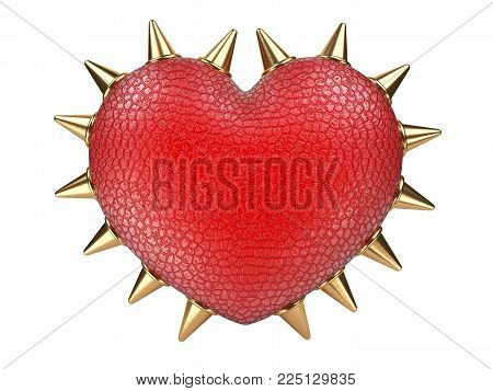 Evil red heart covered leather and metallick thorns. Isolated over white background 3d illustration.
