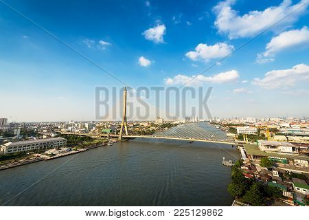 Rama 8 bridge at Chaopraya river on cityscape in Bangkok Thailand