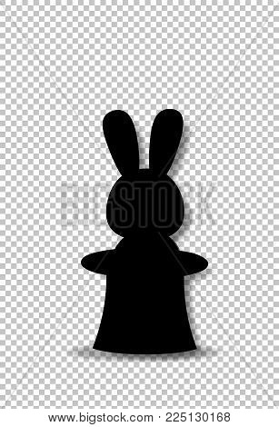 Black Silhouette Of Rabbit Sitting In The Magic Cylinder Top Hat Isolated On Transparent Background.