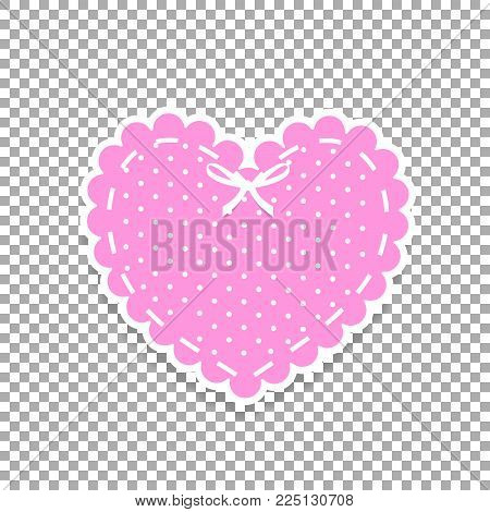 Rose And White Paper Cut Lacy Heart Sticker With Ribbon And Polka Dots Pattern. Heart Stamp For Baby
