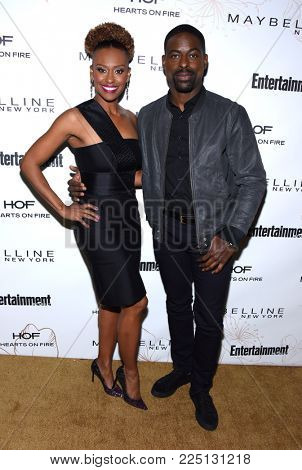 LOS ANGELES - JAN 20:  Sterling K. Brown and Ryan Michelle Bathe arrives for the EW Magazine honors SAG Nominees on January 20, 2018 in West Hollywood, CA