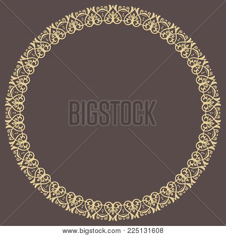 Oriental vector golden round frame with arabesques and floral elements. Floral border with vintage pattern. Greeting card with place for text