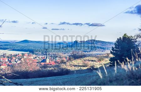 Landscape arround Heimburg with catle of Regenstein - Germany