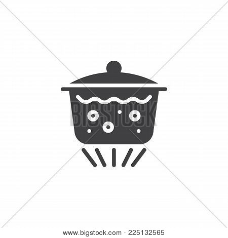 Boiling water in pan icon vector, filled flat sign, solid pictogram isolated on white. Saucepan with lid and boiling water on gas burner symbol, logo illustration.