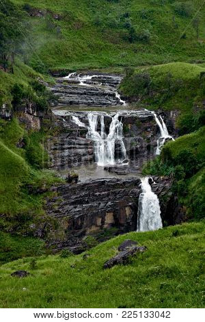 St Clair's Falls. Widest waterfalls in Nuwara Eliya, Sri Lanka. inspirational summer landscape. Clean and green.