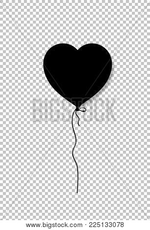 Black silhouette of heart shaped helium balloon isolated on transparent background. Vector illustration, icon, logo, clip art, element for love festive design.