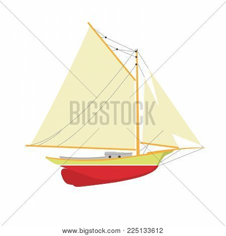 Sailboat or yacht side view - sailer out of water