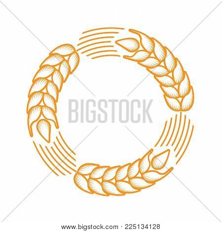 Round frame with border made of ears of wheat