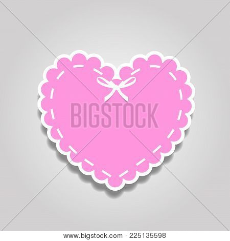 Rose paper cut heart sticker with white lacing, ribbon and copy space. Heart stamp for baby, valentines or love wedding scrapbooking design isolated on white background. Vector icon, clip art.