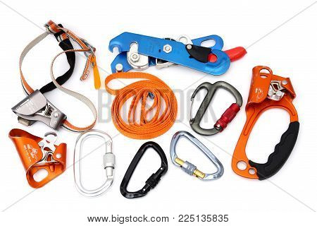 Caving and climbing devices: ascender, descender, locking carabiners, quick ascender